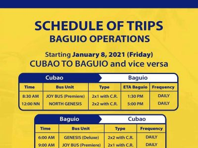 Genesis Transport Bus Schedule from Manila to Baguio